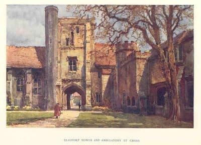 Hants 1920's: WINCHESTER St Cross.Beaufort Tower.. Old Hampshire print