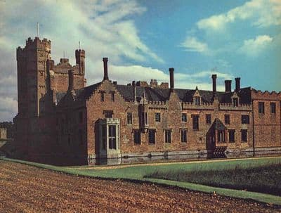 Norfolk 1958: OXBURGH HALL. Built in the 15th Century. Old Vintage Print.