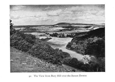 Sussex 1940: The view from BURY HILL over the Sussex Downs. Old Vintage Print.