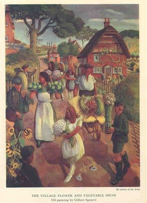 The Village Flower and Vegetable Show. Old Vintage Print. 1941