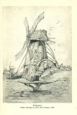 WINDMILLS c. 1947: From a drawing by John Sell Cotman. 1806 Old Vintage Print.