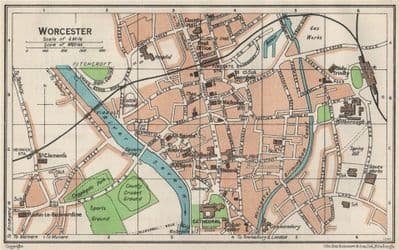 WORCESTER. Vintage town city map plan. Worcestershire 1957 old vintage