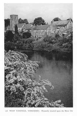 Yorkshire: WEST TANFIELD. Old View. Vintage Print.1934. River Ure. Yorks.