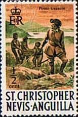 Postage Stamp Stamps 1970 St Christopher Nevis Anguilla SG 206 Pirates and treasure at Frigat Fine Mint  SG 206 Scott 206