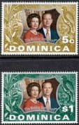 1972 Dominica Royal Silver Wedding Set Fine Mint