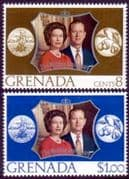 1972 Grenada Royal Silver Wedding Set Fine Mint