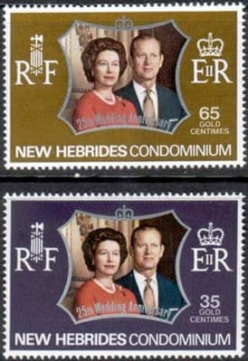 1972 New Hebrides English Royal Silver Wedding Stamps