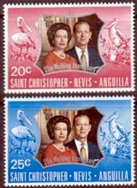 1972 St Christopher Nevis Anguilla Royal Silver Wedding Stamps