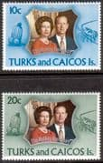 1972 Turks and Caicos Islands Royal Silver Wedding Set Fine Mint