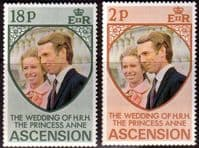 1973 Ascension Princess Anne Royal Wedding Set Fine Mint