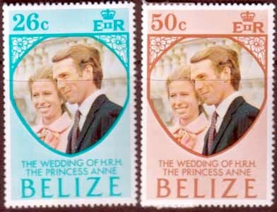 1973 Belize Princess Anne Royal Wedding Stamps