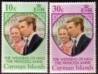 1973 Cayman Islands Princess Anne Royal Wedding Set Fine Mint