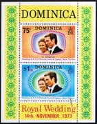 1973 Dominica Princess Anne Royal Wedding Mini Sheet Fine Mint