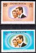 1973 Dominica Princess Anne Royal Wedding Set Fine Mint