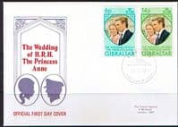 1973 Gibraltar Princess Anne Royal Wedding Set on First Day Cover