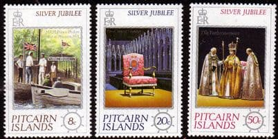 Stamps of 1977 Pitcairn Island Royal Silver Jubilee Set Fine Mint
