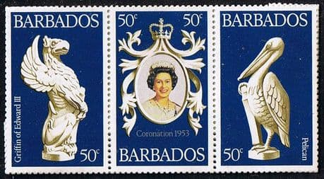 Stamp Stamps 1978 Barbados Coronation 25th Anniversary Strip Fine Mint