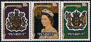 Stamps of 1978 Penrhyn Islands Coronation 25th Anniversary Tennant Strip Fine Mint