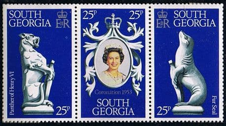 Postage Stamps 1978 South Georgia 25th Anniversary Strip Fine Mint