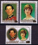 1981 Aitutaki Charles and Diana Royal Wedding Set Fine Mint