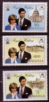 Stamps Stamp 1981 Anguilla Charles and Diana Royal Wedding Set Fine Mint