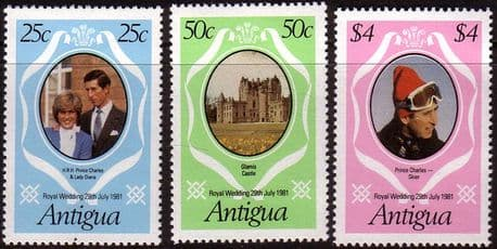 Postage Stamps 1981 Antigua Charles and Diana Royal Wedding Set Fine Mint