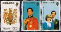 1981 Belize Charles and Diana Royal Wedding Set (Small) Fine Mint