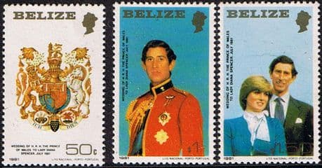 Stamps 1981 Belize Charles and Diana Royal Wedding Set Small  Fine Mint