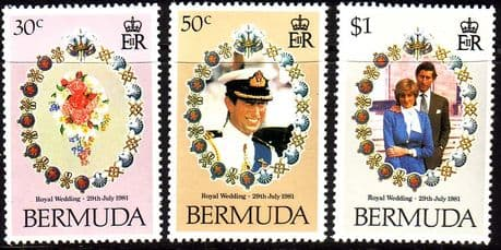 Stamps 1981 Bermuda Charles and Diana Royal Wedding Set Fine Mint