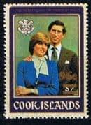 1981 Cook Islands Charles and Diana Royal Wedding 96c Surcharge SG 909 Fine Mint