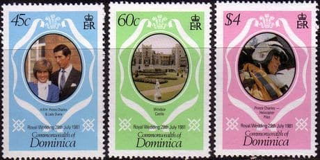 1981 Dominica Charles and Diana Royal Wedding Set Fine Mint