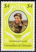 1981 Grenadines of Grenada Charles and Diana Royal Wedding $4 Changed Colour Fine Mint