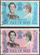 1981 Isle of Man Charles and Diana Royal Wedding Set Fine Used