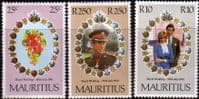 1981 Mauritius Charles and Diana Royal Wedding Set Fine Mint