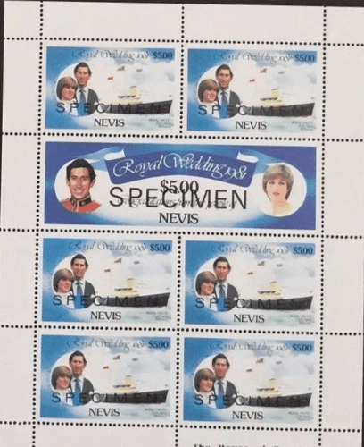 1981 Nevis Charles and Diana Royal Wedding $5 Miniature Sheets SPECIMEN Fine Mint