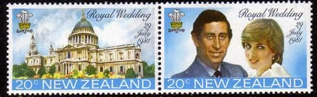Postage Stamps 1981 New Zealand Charles and Diana Royal Wedding Tennant Pair Fine Mint