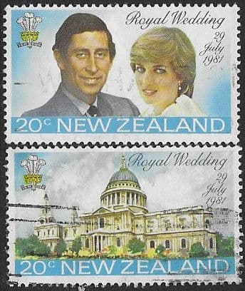 1981 New Zealand Charles and Diana Royal Wedding Pair Fine Used
