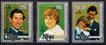 Niue Stamps 1981 Charles and Diana Royal Wedding Disabled Surcharge