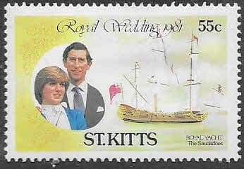 1981 St Kitts Charles and Diana Royal Wedding 55c Fine Mint
