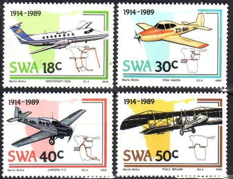 South West Africa Stamps 1989 Planes and Aviation