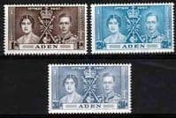 Aden 1937 King George VI Coronation Set Fine Mint