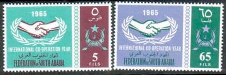 Stamps Aden South Arabian Federation 1965 International Co-operation Year Set Fine Mint