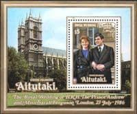 Aitutaki Island 1986 Royal Wedding Miniature Sheet Fine Mint