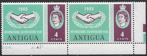 Antigua 1965 International Co-operation Year SG 168 Error paired with Normal Fine Mint