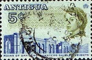 Antigua 1966 SG 185 Ruins of Officers Quarters Fine Used