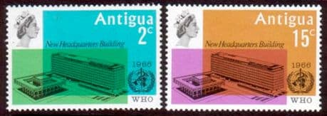 Stamps of Antigua 1966 World Health Organisation Set Fine Mint