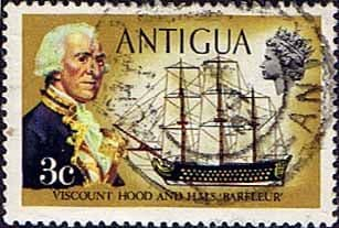 Antigua 1970 Ships and Captains SG 272 Viscount Hood and H.M.S. Barfleur Fine Used