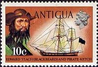 Antigua 1970 Ships and Captains SG 276 Blackbeard and Pirate Ketch Fine Mint