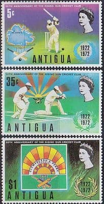 Postage Stamps Antigua 1972 Rising Sun Cricket Club Set Fine Mint