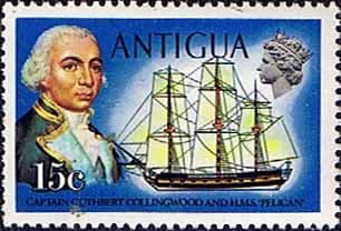 Antigua 1974 Ships and Captains SG 330 Captain Collingwood and H.M.S. Pelican Fine Mint